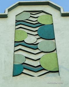 Art Deco Building; Sun and waves or Moon Art Deco motif (hva)