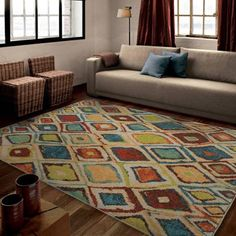 Orian Rugs Bright Color Geometric Dazzling Diamond Multi Area Rug