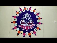 Super Easy and Innovative Ganesh Rangoli Designs Using Bangles Rangoli Designs Flower, Colorful Rangoli Designs, Rangoli Designs Images, Flower Rangoli, Ganesh Rangoli, Ganesha, Silhouette Cameo Freebies, Mandala Dots, Simple Rangoli