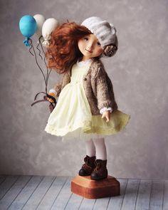 """Статичная куколка """"Воздушное настроение"""".Находится в частной коллекции. #куклы #кукладевочка  #куклаавторская  #куклыручнойработы  #куклаинтерьерная #кукла  #коллекционнаякукла"""