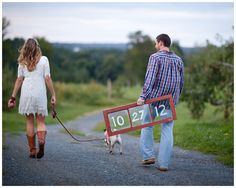 Such a great idea for a save the date or engagement pictures!