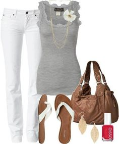 Have a gray lacy tank top.Casual Summer Outfit white jeans?