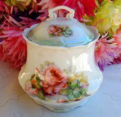 Beautiful Vintage German Porcelain Cracker Jar Pot ~ Roses