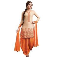 Wonderful Beige and Orange Embroidered Dress Material with Dupatta On Smartdeals4u.com