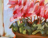pink cyclamen by the window still life flower print by angela moulton 8 x 8 inches prattcreekart