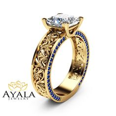 Princess Cut Moissanite Engagement Ring Sapphires by AyalaDiamonds