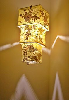 Romantic Cream Yellow Fabric Light shade by BilasLanterns on Etsy, $170.00