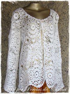 * Pérolas do Crochet: Casaco em croche Modelo Renda Branco