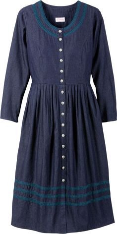 Lanz of Salzburg Chambray Dress: Plenty of thoughtful features include a full button front with silver filigree buttons, princess seams in the front and back, adjustable ties at the waist and 3 tiers of blackwatch ribbon trim.