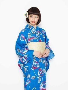 浴衣&半巾帯セット「バラ」 商品画像