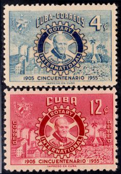 1955 Cuba Stamps Rotary Club Emblem  Paul P.Harris Complete Set NEW