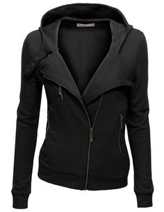 Doublju Women's Fleece Zip-Up High Neck Jacket at Amazon Women's Clothing store: Fleece Outerwear Jackets