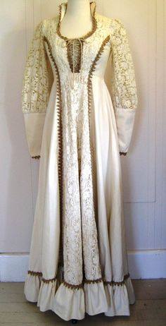 Seventies Gunne Sax muslin and lace corset dress - I love this!  I wear it to the Renaissance Faire every year!