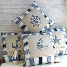Cute nautical pillows. #nautical #pillows