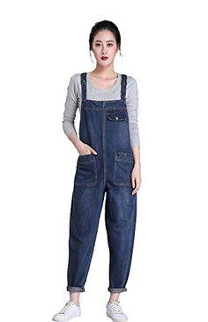 5a9f9059f10 Amazon.com  Soojun Women s Casual Baggy Denim Bib Overalls