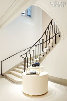 Stair detail in Chloé's Paris flagship shop by Joseph Dirand. Wrought Iron Stairs, Iron Stair Railing, Stair Railing Design, Staircase Railings, Curved Staircase, Staircases, Iron Staircase, Banisters, Joseph Dirand