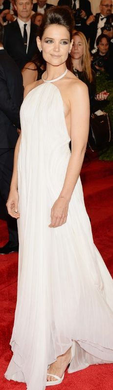Who made  Katie Holmes white halter gown and jewelry that she wore to the 2013 Met Gala in New York?