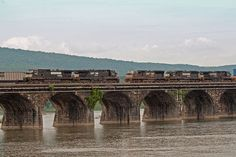 The Rockville Bridge, at the time of its completion in 1902, was, and remains, the longest stone masonry arch railroad viaduct in the world.[1] Constructed between April 1900 and March 1902 by the Pennsylvania Railroad, it has forty-eight 70-foot spans, for a total length of 3,820 feet (1,164 m).[1] The bridge crosses the Susquehanna River about 5 miles (8 km) north of Harrisburg, Pennsylvania. The eastern end is in Rockville and the western end is just south of Marysville.