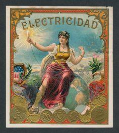 Sexy Electric Beauty on Original Antique Cigar Box Label Vintage Art | eBay