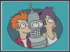 Futurama - Fry Leela Bender - Counted Cross Stitch Pattern by HornswoggleStore, $5.00 (TV, Adult Swim, Sci-Fi, cartoon, geek, nerd)