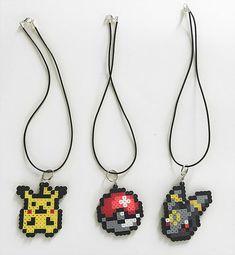 Pokemon Necklace Pixels Perler Beads Sprites by BelovedDollDesigns