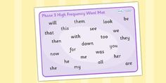 Phase 3 High Frequency Word Mat - High frequency words, phase 3, word mat, hfw, DfES Letters and Sounds, writing aid, mat, Letters and Sounds, display words