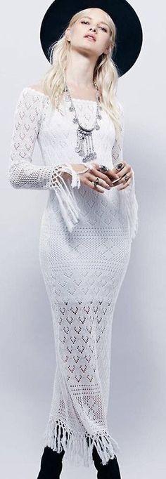 #spellandthegypsycollective #boho #outfits |  White Crochet Maxi dress