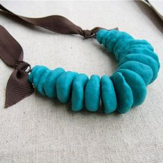 Necklace Turquoise Paper Mache Bead with Brown Ribbon by artspell, $42.00
