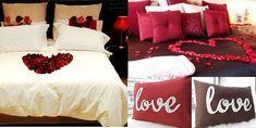 schlafzimmer dekoration valentinstag ideen- idee di decorazione camera da letto- San Valentino