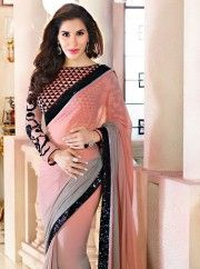 atest whimsical sophie choudry grey and peach faux chiffon and velvet designer saree and different style.Grey and peach, embroidered party wear saree