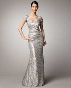 Dress for Mothers  (Scoop-Neck Sequin Gown by David Meister at Neiman Marcus)