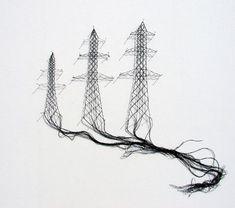 Elodie Antoine - Lace art Art Fibres Textiles, Textile Fiber Art, Textile Artists, Art Fil, Lace Art, Thread Art, Pin Art, Contemporary Artwork, Art Graphique