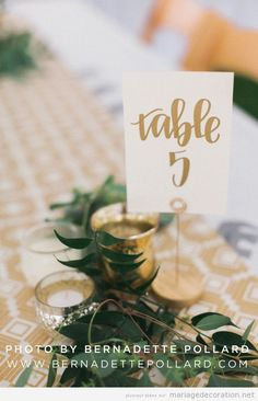 Message número table mariage calligraphie jolie