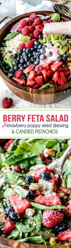 Berry Feta Spinach Salad with Creamy Strawberry Poppy Seed Dressing and CANDIED pistachios is so easy, delicious and beautiful for company, it is sure to become a new favorite!: