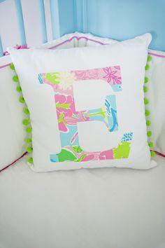 E monogram pillow