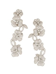London Collection - 18k White Gold Pave Diamond Flower Dangle Earrings - at - London Jewelers