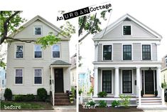 Urban Cottage: Greek Revival Exterior Renovation Before and After -Great Job!An Urban Cottage: Greek Revival Exterior Renovation Before and After -Great Job! Exterior Renovation Before And After, Home Renovation, Home Remodeling, Farmhouse Renovation, Home Exterior Makeover, Exterior Remodel, Exterior Paint, Exterior Design, Diy Exterior
