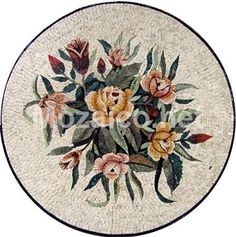 Floral Medallion Mosaic Marble