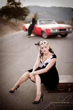 Pin Up Girl with Groom & classic car Engagement... I'am definetly doing this for our photos..