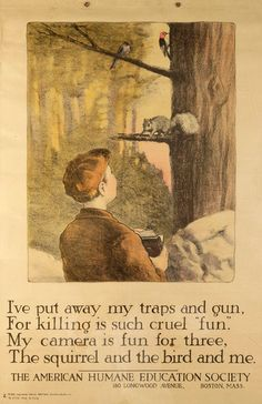 """Print emphasizing """"hunting with the camera."""" Published by the American Humane Education Society, c.1921. Collection of Robert Penney.  http://bekindexhibit.org/about/the-importance-of-the-visual/"""