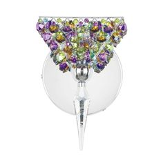 The colorful Vertex Sconce by Schonbek Swarovski features different crystal color choices.  This sconce will add a sparkle to any wall.