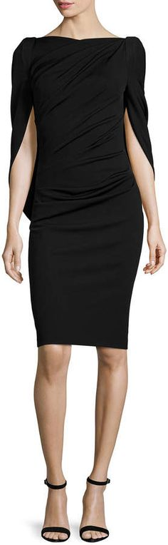 Talbot Runhof Konica Cowl-Back Ruched Cocktail Dress, Black #AD #lbd