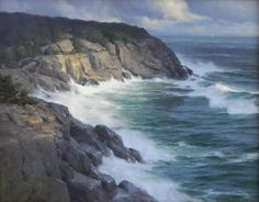 Surf at Black Head, Monhegan Island, Maine. Russell Jinishian Gallery, Inc. Monhegan Island, Pictures To Paint, Landscape Paintings, Landscapes, Seaside, Maine, Surfing, Beautiful Places, Places To Visit