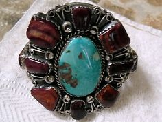 Old Pawn Purple Spiney Oyster Centered with Gem Grade Blue Royston Turquoise, Navajo (private collection)
