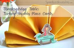 Thanksgiving Table: Napkin Fold and Printable