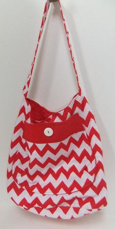 Christmas purse - Bucket Bag - Red and White Chevron