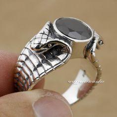LINSION Black CZ Stone 925 Sterling Silver King Cobra Snake Ring Fashion Biker Rock Punk Style 9K012 US Size 6.5 to 13