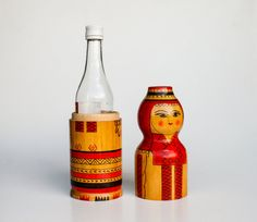 Vintage Russian Matryoshka Nesting Doll Bottle Container / Soviet Union USSR Original Gift Box