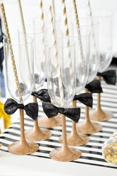 New Years Eve party ideas via Kara's Party Ideas | Kara Allen Love the easy bow tie drinking glasses!