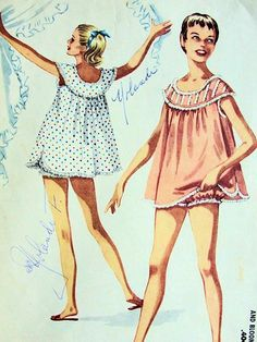 1950s SHORTIE NIGHTGOWN ,BLOOMERS BABY DOLL PAJAMAS PATTERN McCALLS 3502